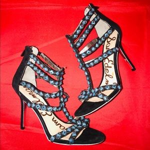 Sam Edelman Black Suede & Turquoise Bead Sandals
